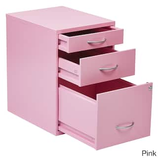 Office Star Products Metal Locking 3 Drawer File Cabinet With Silvertone Handles Option