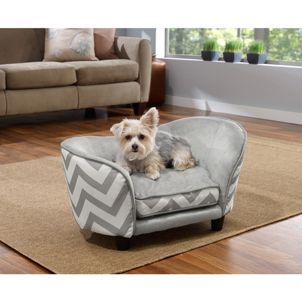 Enchanted Home Pet Ultra Plush Chevron Snuggle Pet Sofa
