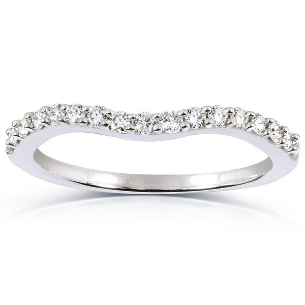 Curved Wedding Bands: Shop Annello 14k White Gold 1/4ct TDW Curved Diamond