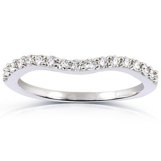 Annello 14k White Gold 1/4ct TDW Curved Diamond Wedding Band Ring