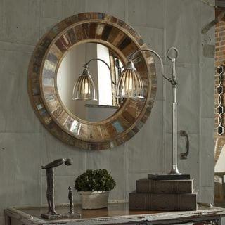 Uttermost Jeremiah Round Wood Mirror - Brown - 32x32x3.5