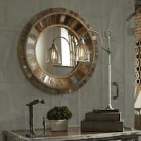 Uttermost Jeremiah Round Wood Mirror - Brown