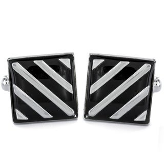 Silvertone and Black Enamel Striped Square Cuff Links