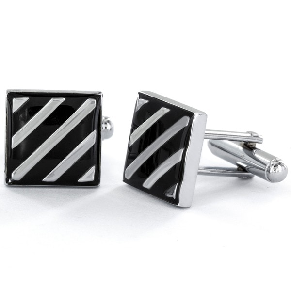 Men/'s Black Enamel Striped Silver Tone Suit Cufflinks