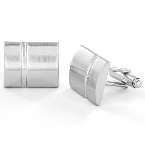 Silvertone Polished Rectangle Cuff Links