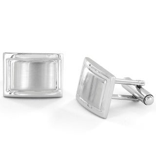 Silvertone Brushed and Polished Domed Rectangle Cuff Links