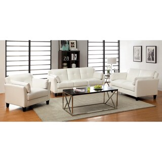 Furniture of America Pierson Double Stitched Leatherette 3-piece Furniture Set (Option: White)