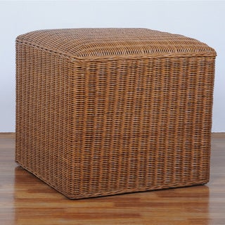 International Caravan 'Campbell' Square Hand-woven Rattan Wicker Ottoman with Cushioned Top
