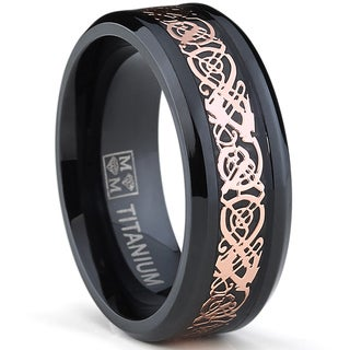 Oliveti Men's Black Plated Titanium Carbon Fiber and Rose Goldplated Celtic Dragon Inlay Ring
