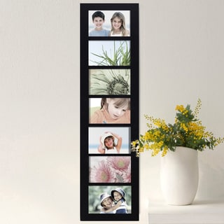 Adeco Black Wood Hanging Divided 4 x 6-inch Photo Frame with 7 Openings