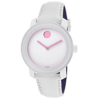 Movado Bold White Dial White Leather Strap Watch