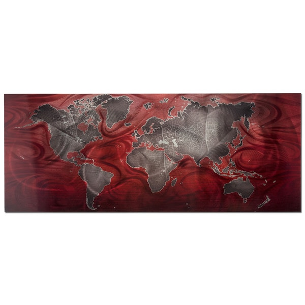 Shop Pewter and Red World Map Modern Metal Wall Art - On Sale - Free ...