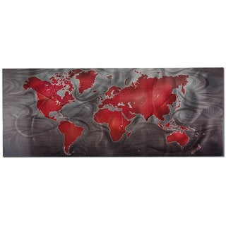 Red and Pewter World Map Modern Metal Wall Art