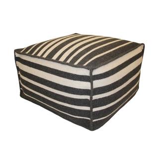 Charcoal/ White Lines Wool Pouf Ottoman