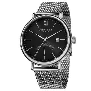 Akribos XXIV Men's Quartz GMT & Date Stainless Steel Silver-Tone Strap Watch