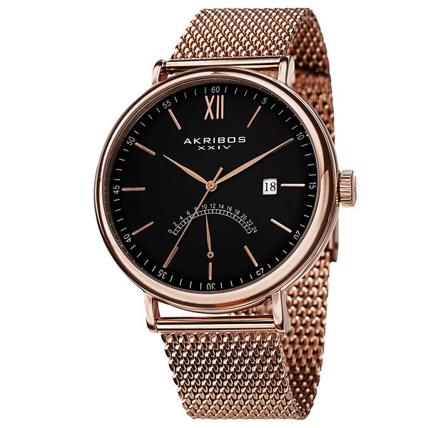 Akribos XXIV Men's Quartz GMT & Date Stainless Steel Rose-Tone Strap Watch with FREE GIFT