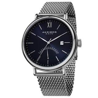 Akribos XXIV Men's Quartz GMT & Date Stainless Steel Blue Strap Watch