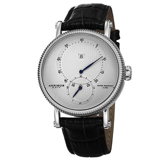 Akribos XXIV Men's Automatic Etched Pattern Dial Leather Silver-Tone Strap Watch