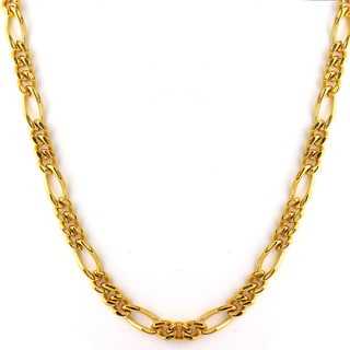 Goldtone Stainless Steel Men's Figaro Necklace