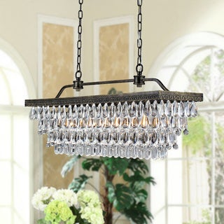"Link to Antique Copper Finish Rectangular Crystal Chandelier - 29.9"" L x 9.1"" W x 55.3"" H Similar Items in As Is"