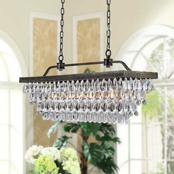 Antique Copper 4 Light Rectangular Crystal Chandelier