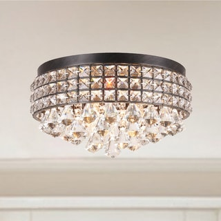 Silver Orchid Taylor Iron Shade Crystal Flush Mount Chandelier