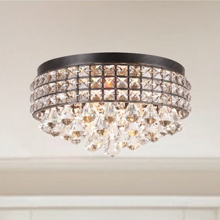Flush Mount Lighting - Shop The Best Deals For Apr 2017:Jolie Iron Shade Crystal Flush Mount Chandelier,Lighting