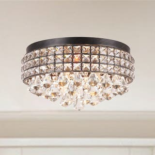 Black flush mount lighting for less overstock silver orchid taylor iron shade crystal flush mount chandelier aloadofball