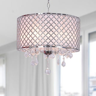 Carina Chrome Finish Drum Shade Crystal Chandelier