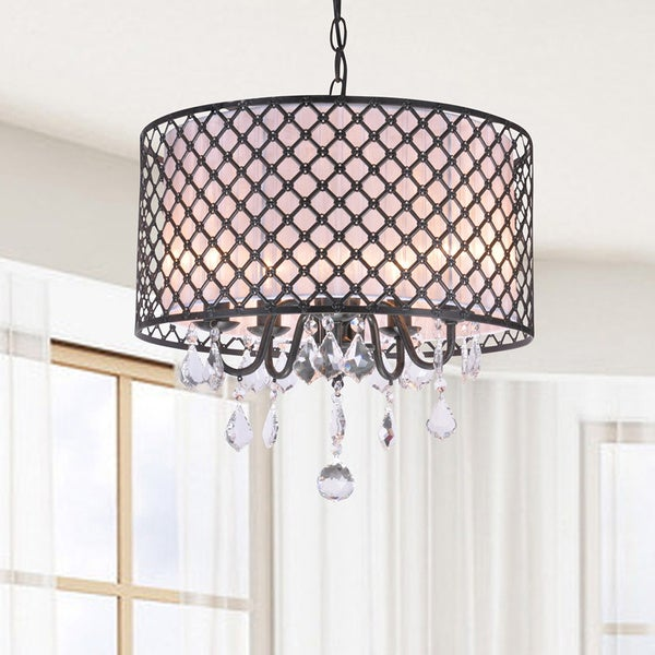 Carina Antique Black Finish Drum Shade Crystal Chandelier Free – Bronze Chandelier with Shades