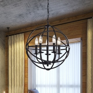 Benita 5 Light Antique Black Metal Strap Globe Chandelier