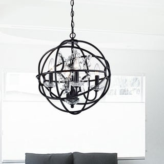 Benita Antique Black Metal Strap Globe Crystal Chandelier