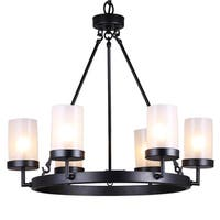 Pine Canopy Ocala 6-light Black Linear Glass Globe Chandelier