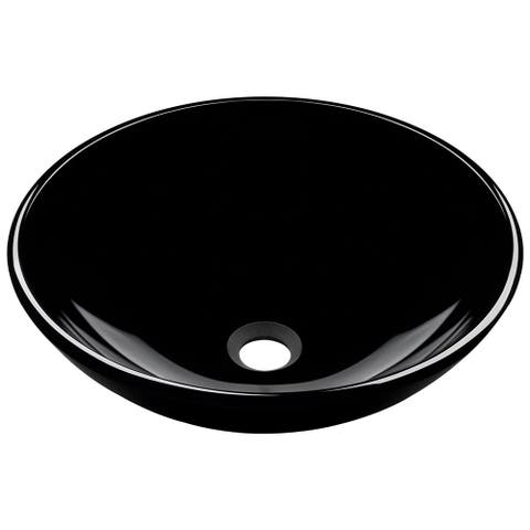 Polaris Sinks Black Glass Vessel Sink
