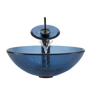 Polaris Sink Oil-rubbed Bronze Aqua Glass Vessel Sink and Faucet