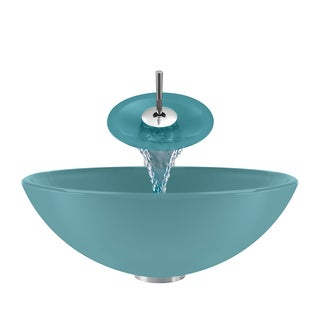 Polaris Sinks Turquoise/ Chrome 4-piece Bathroom Sink Ensemble