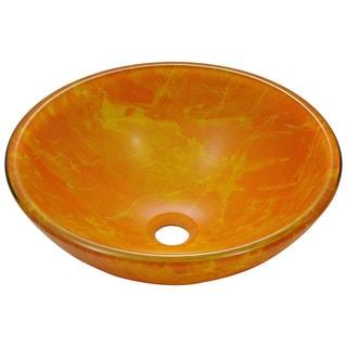 Polaris Sinks Yellow/ Orange Double Layered Glass Vessel Sink