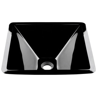 Polaris Sinks Black Colored Glass Vessel Sink