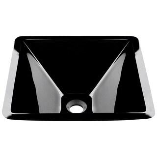 Polaris Sinks Black Colored Glass Vessel Sink