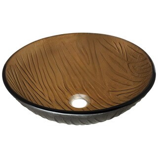 Polaris Sinks Brown Embossed-pattern Beach Sand Glass Vessel Bathroom Sink