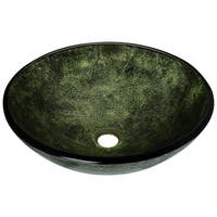 Polaris Sinks Foiled Forest Green Glass Vessel Bathroom Sink