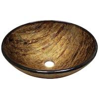 Polaris Sinks Bronze Foil Undertone Glass Vessel Bathroom Sink