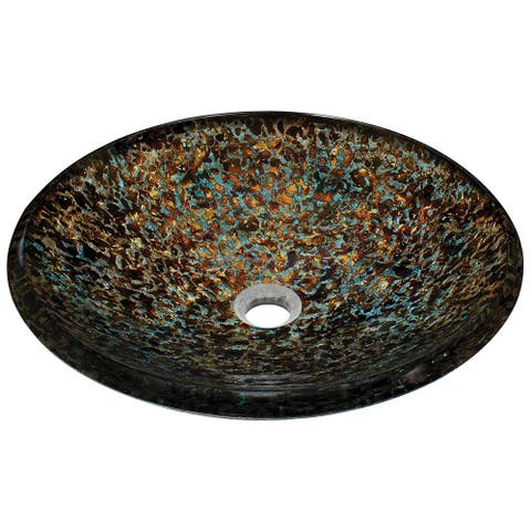 Polaris Sinks Blue and Bronze Hand-painted Foil Undertone Glass Vessel Sink