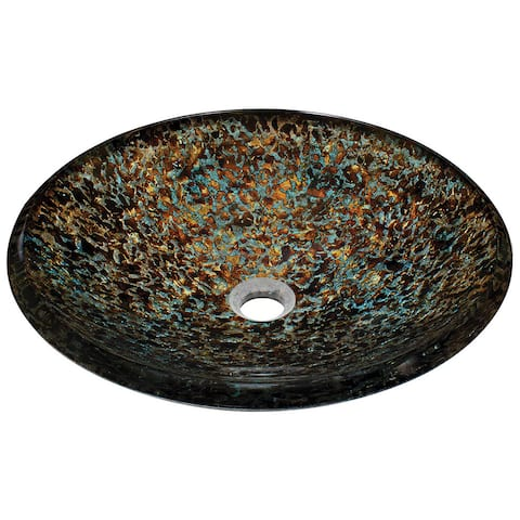 Polaris Sinks Blue and Bronze Hand-painted Foil Undertone Glass Vessel Sink