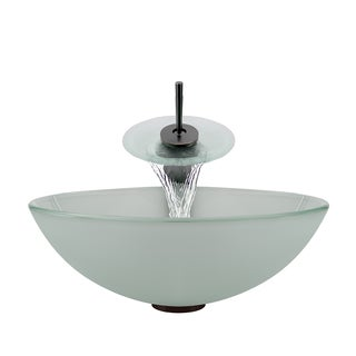 Polaris Sinks Oil-rubbed Bronze Frosted Glass Sink and Waterfall Faucet
