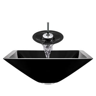 Polaris Sinks Chrome Black Square Vessel Sink and Waterfall Faucet
