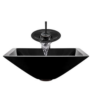 Polaris Sinks Oil-rubbed Bronze Black Square Vessel Sink and Waterfall Faucet|https://ak1.ostkcdn.com/images/products/9086299/P16276385.jpg?impolicy=medium