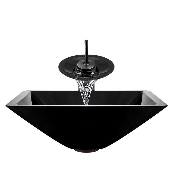 Polaris Sinks Oil Rubbed Bronze Black Square Vessel Sink And Waterfall  Faucet