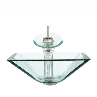 Polaris Sinks Brushed Nickel Crystal Square Vessel Sink and Waterfall Faucet