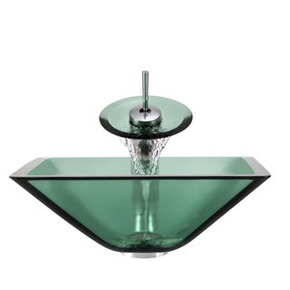 Polaris Sinks Chrome Emerald Square Vessel Sink and Waterfall Fauce